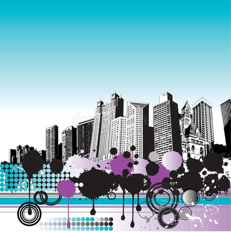 都市风景grunge 库存例证