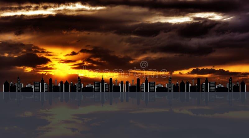 都市风景hdr日落 皇族释放例证