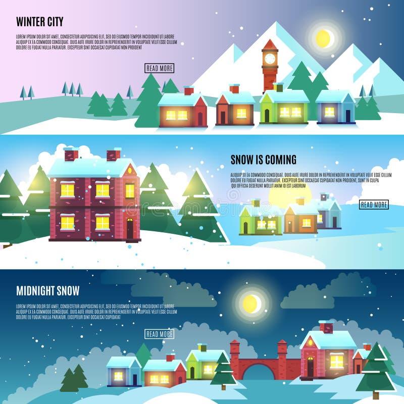 都市,城市,都市风景冬天被设置的传染媒介横幅 向量例证