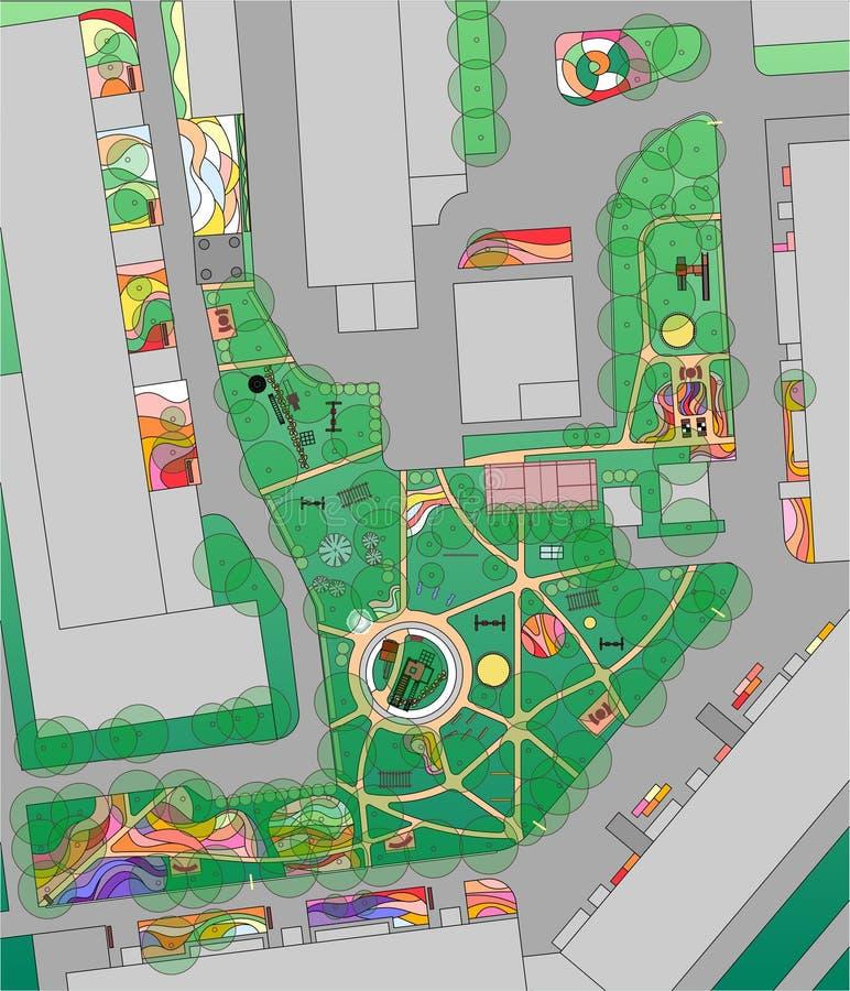 都市围场计划有树、花圃和操场的 库存例证
