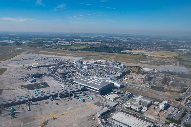都柏林机场的鸟瞰图 库存照片