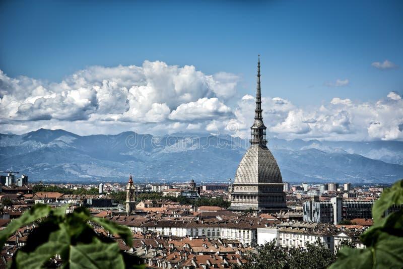 都灵市中心全景,在意大利 免版税库存图片