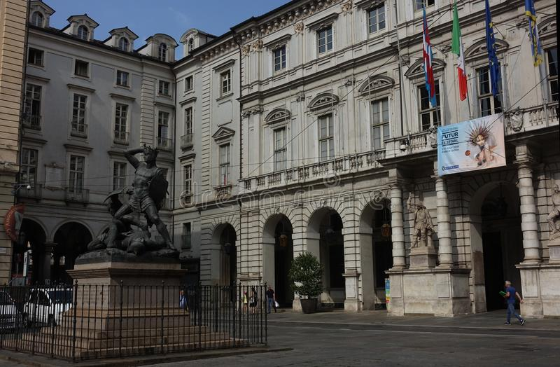 都灵广场Palazzo Palazzo广场 图库摄影