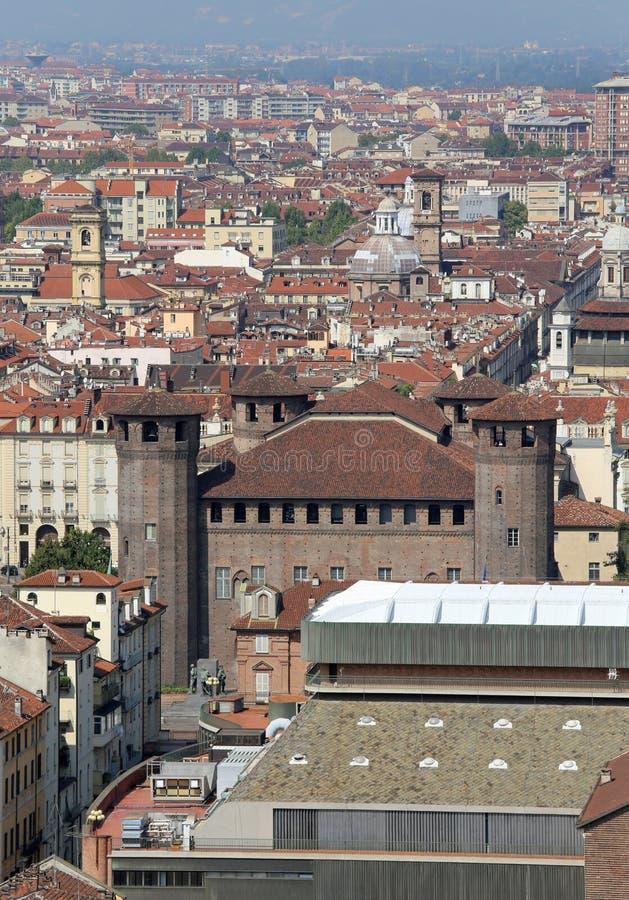 都灵,对,意大利- 2015年8月27日:城市的全景有ol的 库存图片