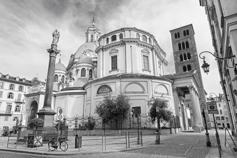 都灵,意大利- 2017年3月14日:巴洛克式的教会Santuario della Consolata 库存图片