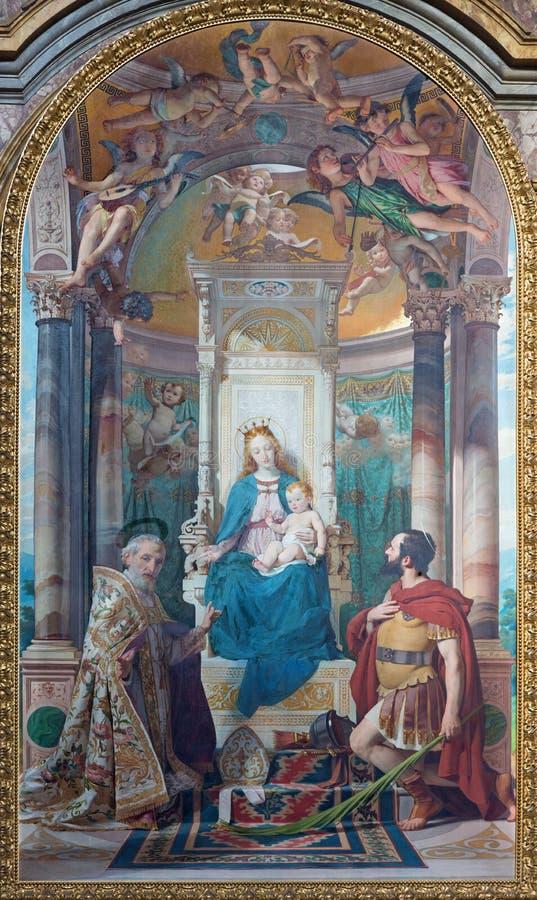 都灵,意大利- 2017年3月16日:玛丹娜绘画有圣徒的在教会基耶萨di圣菲利波Neri里 库存照片