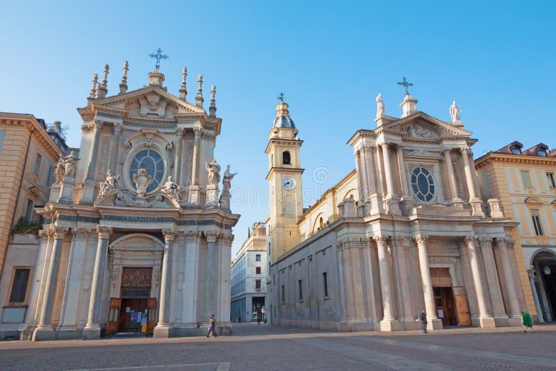 都灵-广场圣克罗广场和教会圣诞老人克里斯蒂娜和Sant克罗 免版税库存图片