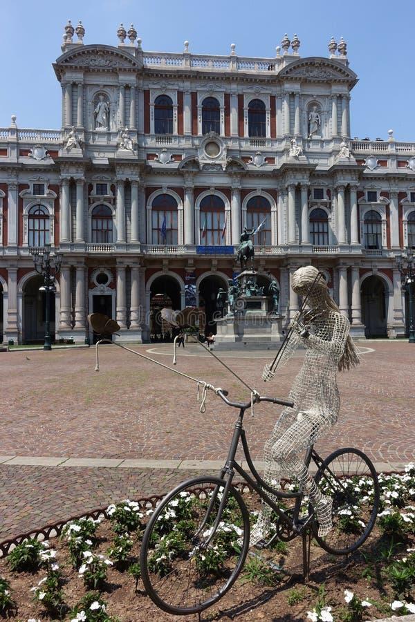 都灵Palazzo卡里尼亚诺,卡里尼亚诺宫殿 免版税库存照片
