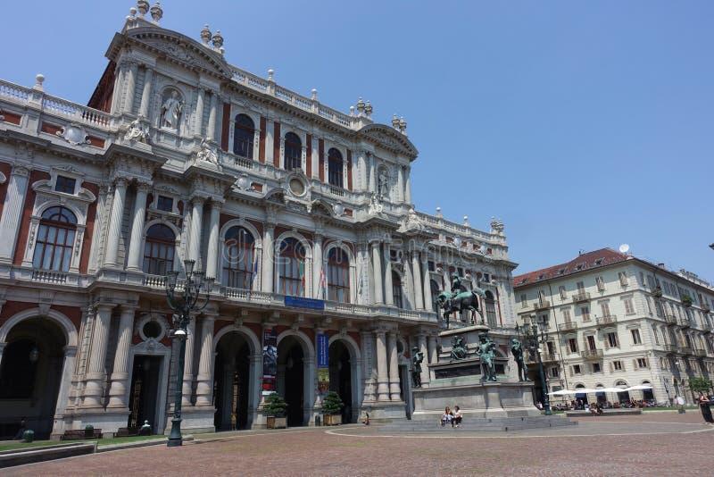 都灵Palazzo卡里尼亚诺,卡里尼亚诺宫殿 库存图片