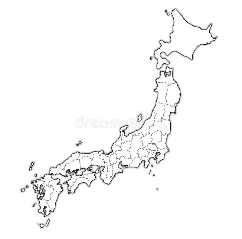都道府县管理地图的 库存例证