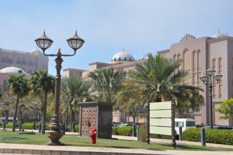 酋长管辖区华园大饭店在阿布扎比,阿拉伯联合酋长国 免版税库存照片