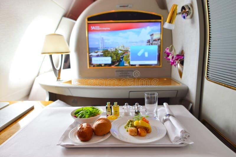 酋长管辖区空中客车A380内部 库存图片
