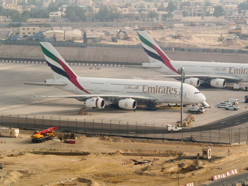 酋长管辖区Double-deck空中客车A380 库存图片