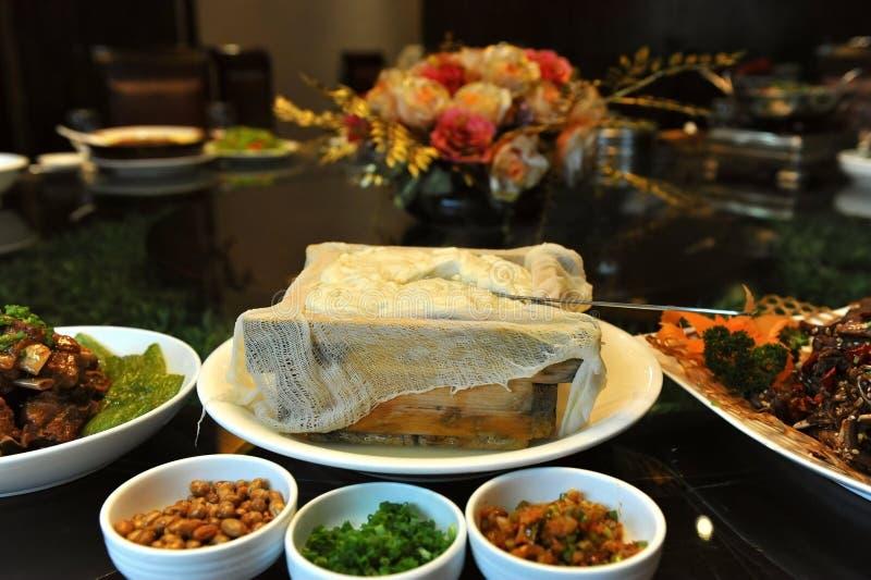 配件箱中国烹调豆腐 免版税库存照片