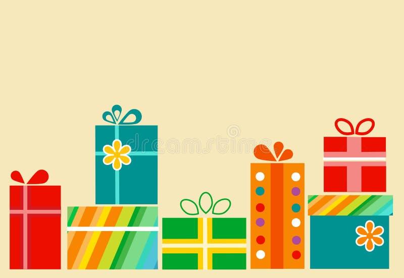 配件箱五颜六色的礼品堆存在 库存例证