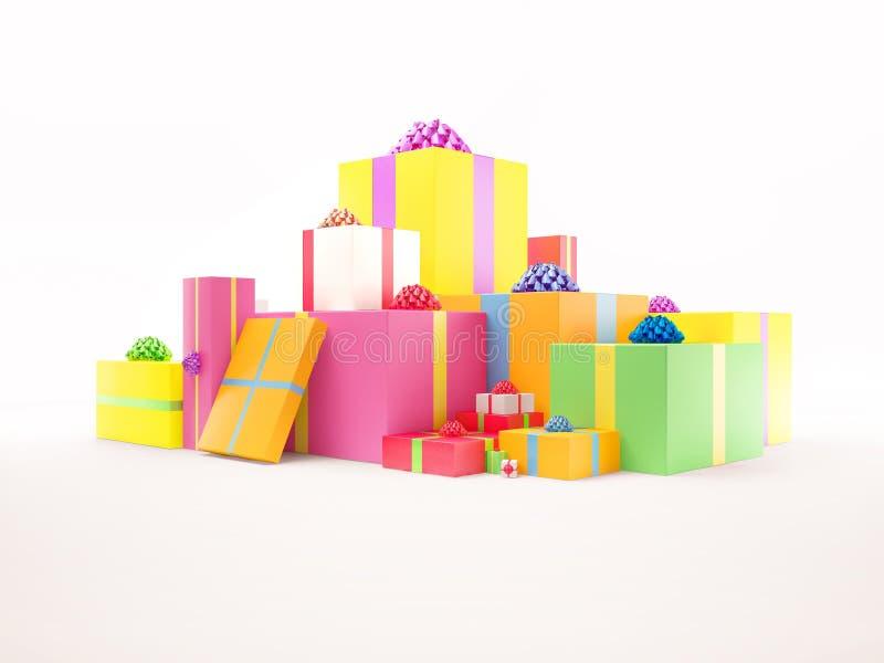 配件箱五颜六色的礼品集 向量例证