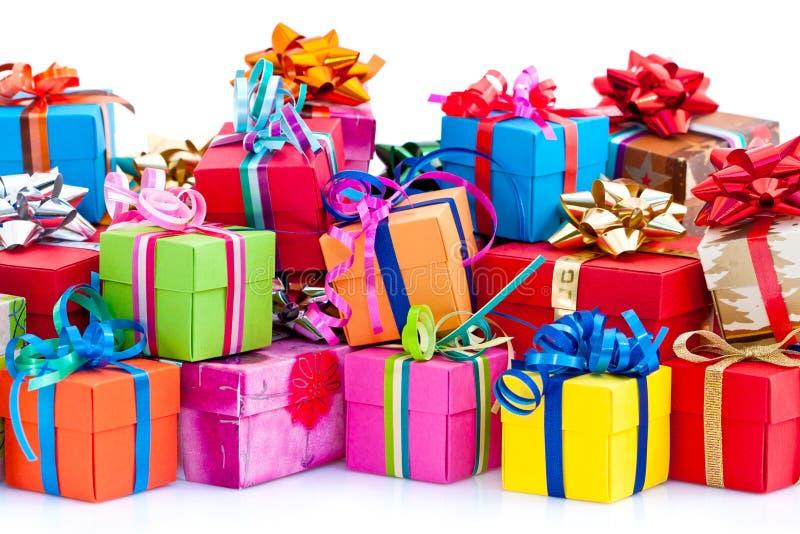 配件箱五颜六色的礼品 图库摄影