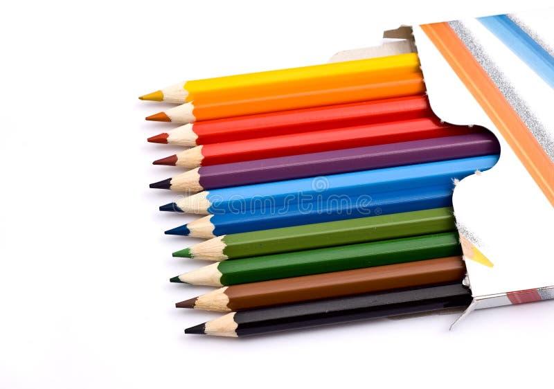 配件箱五颜六色的铅笔 图库摄影