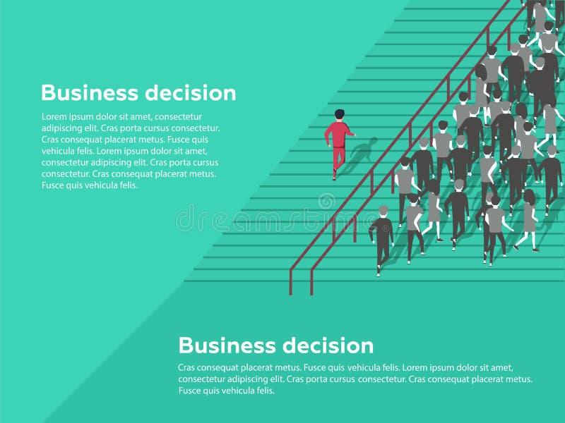 配件箱企业检查概念决策是没有纸纹理 可能性 选择最佳的解答的确信的商人 库存例证
