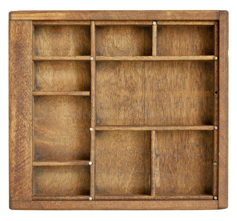 配件箱分切器小的木头 库存图片