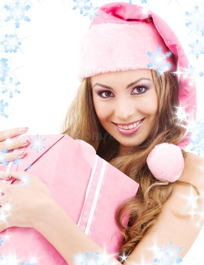配件箱快乐的礼品女孩辅助工圣诞老人 库存照片