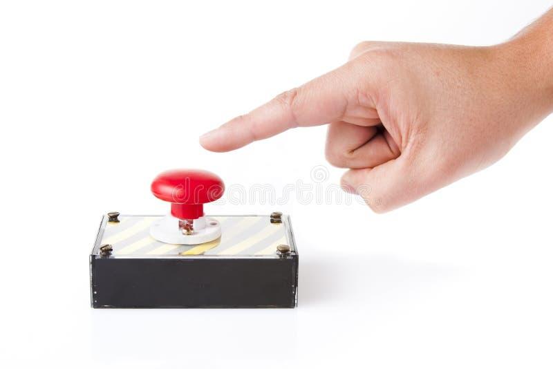 配件箱按钮手指查出的紧急白色 免版税库存照片