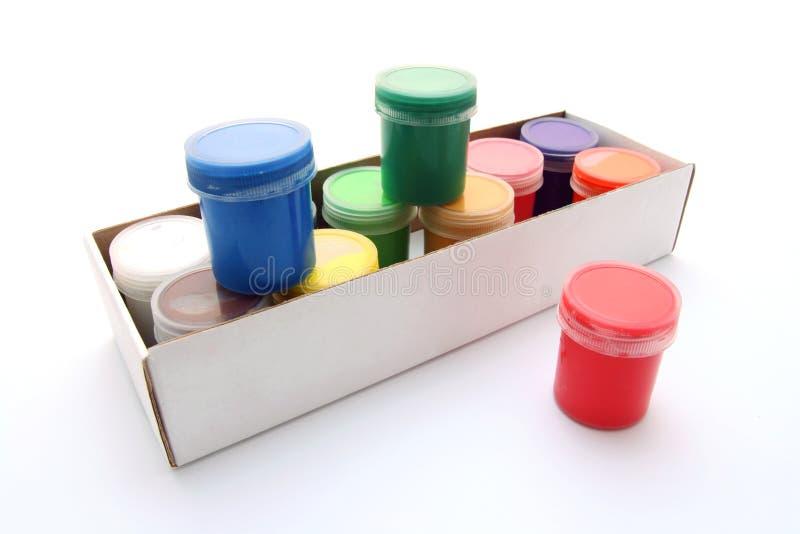 配件箱树胶水彩画颜料油漆 库存图片