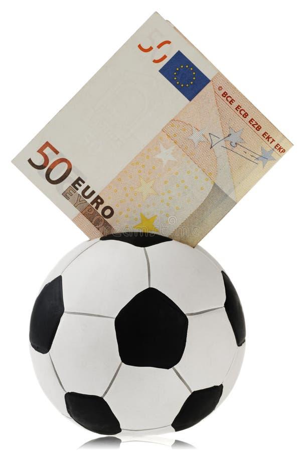 配件箱欧元五十橄榄球去的货币 免版税库存照片