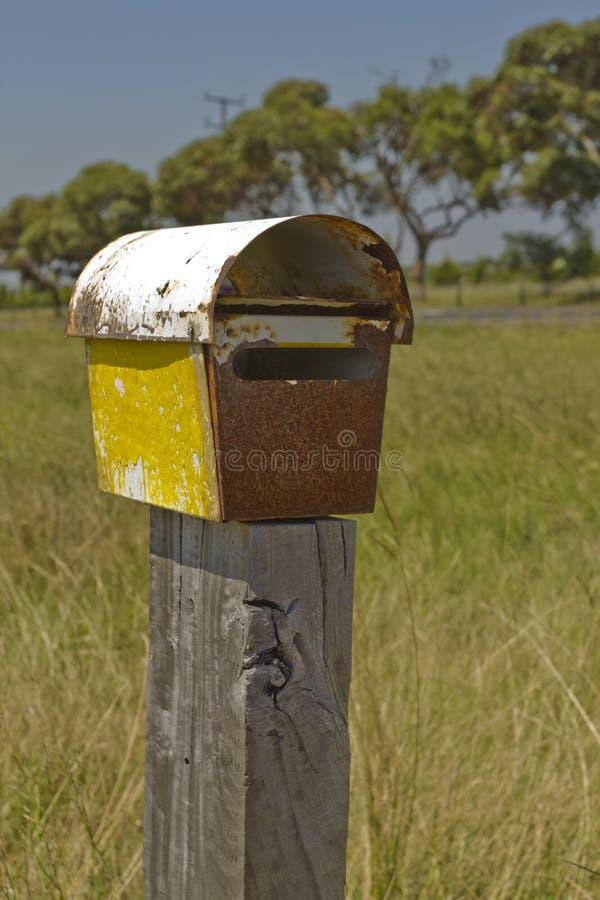 配件箱生锈letterbox的过帐 库存图片