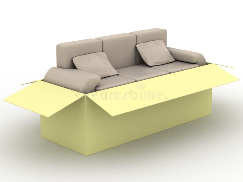 配件箱皮革装箱沙发 皇族释放例证