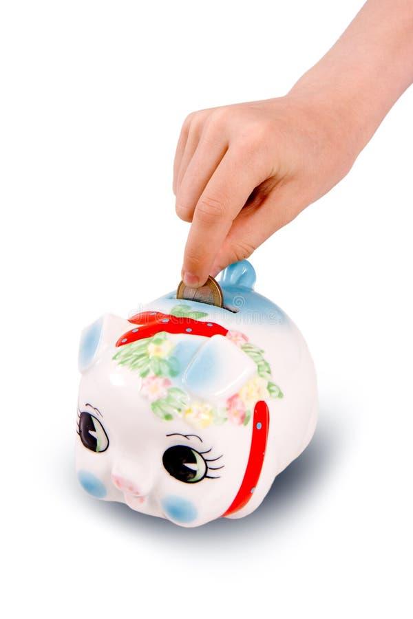 配件箱硬币猪 免版税库存照片