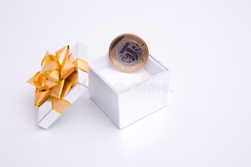 配件箱硬币礼品 库存图片