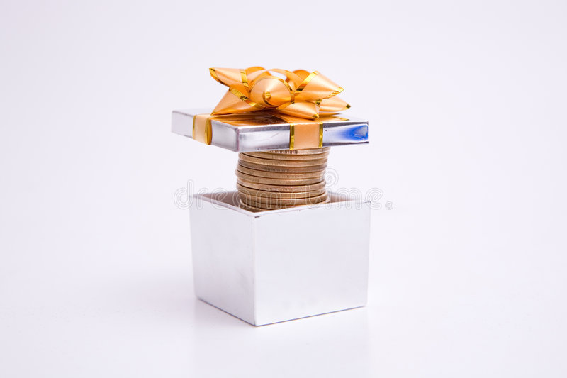 配件箱硬币礼品 图库摄影
