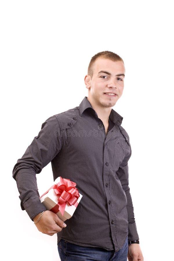 配件箱礼品人包裹了 免版税库存照片