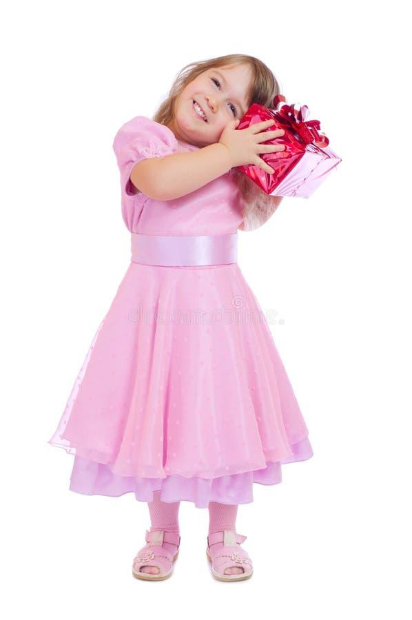 配件箱礼品女孩微笑的一点 库存照片