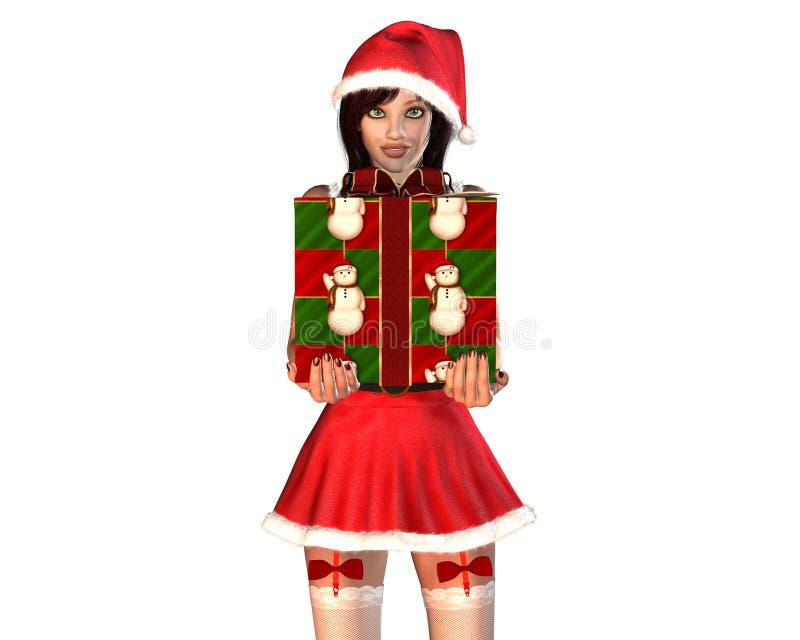 配件箱礼品女孩辅助工红色圣诞老人 向量例证