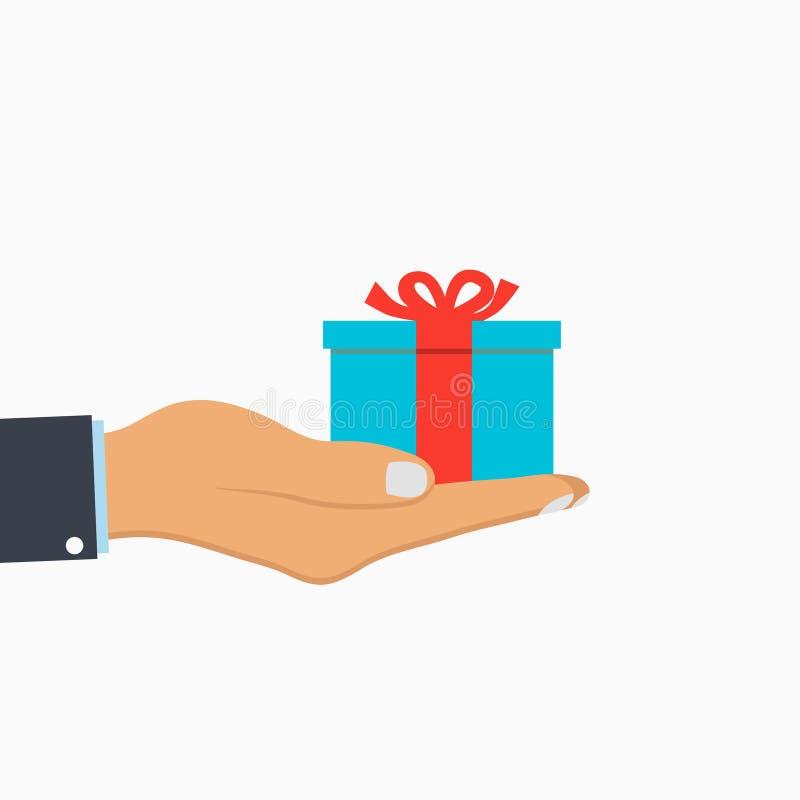 配件箱礼品现有量丝带 人拿着在棕榈的礼物箱子 惊奇,礼物 向量 皇族释放例证