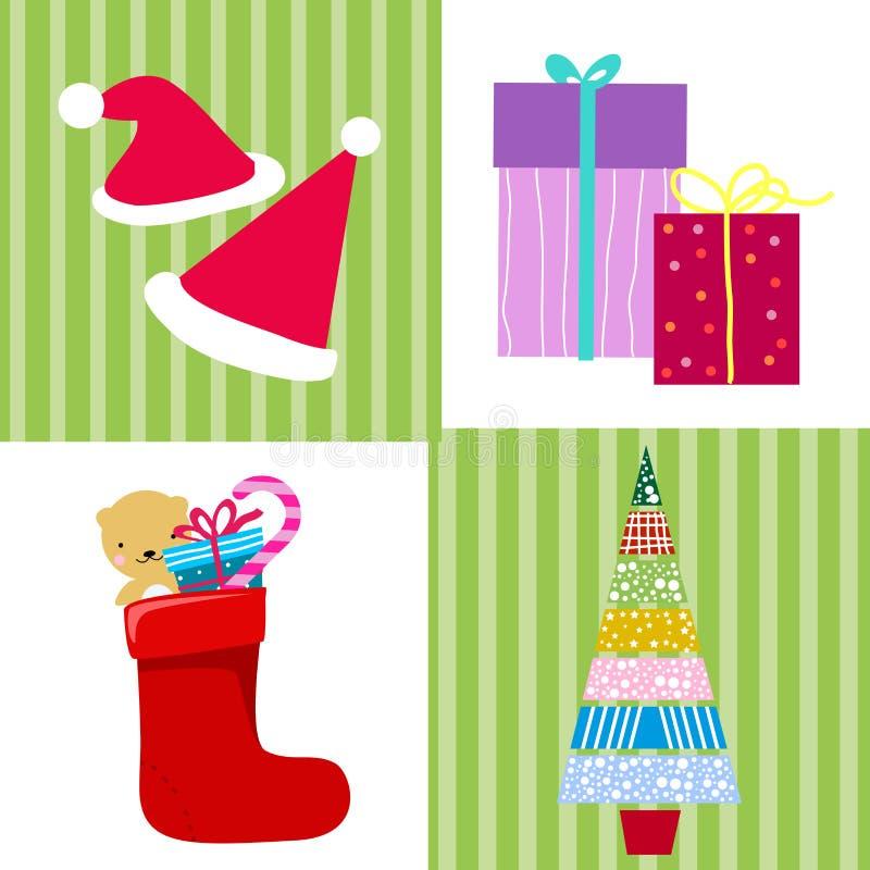 配件箱糖果圣诞节礼品袜子结构树 库存例证