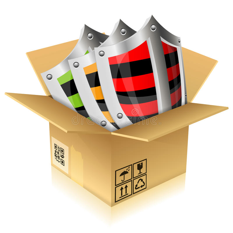 配件箱纸板安全性盾 向量例证