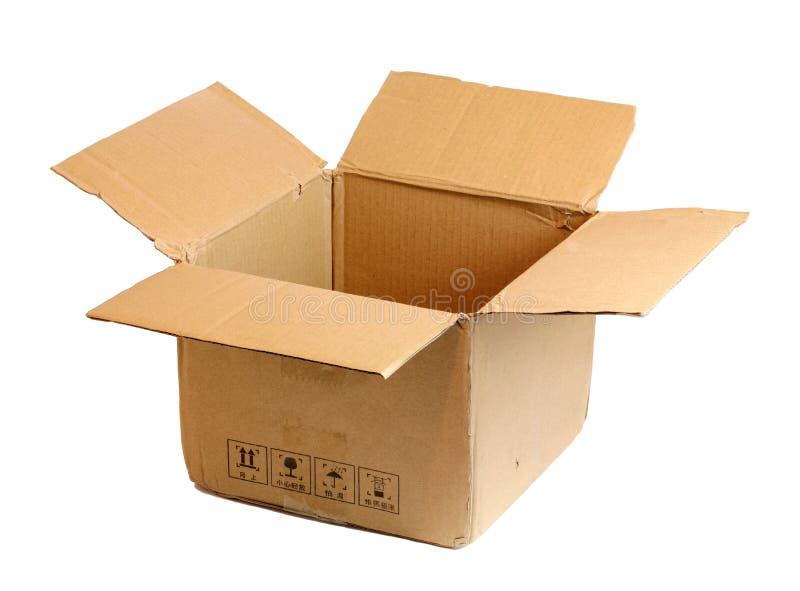 配件箱纸板开放白色 免版税库存图片