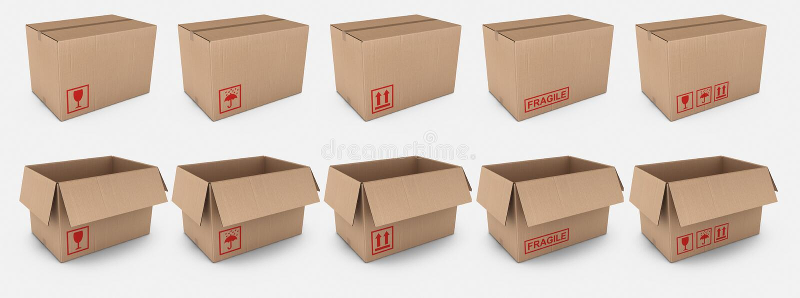 配件箱纸板标记警告 库存例证
