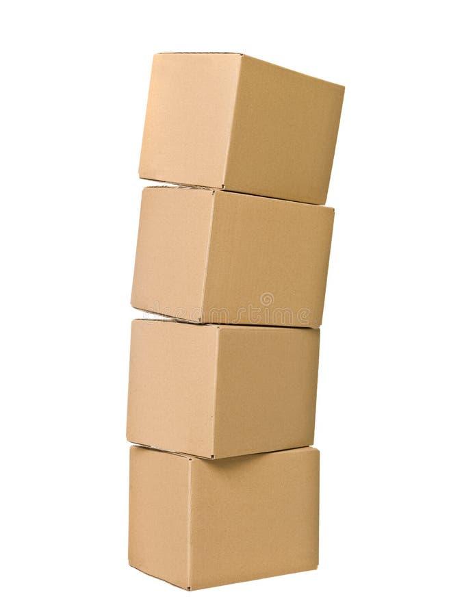 配件箱纸板栈 免版税库存照片