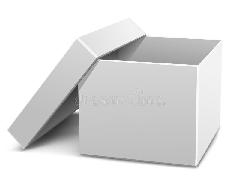 配件箱纸板空的被开张的白色 皇族释放例证