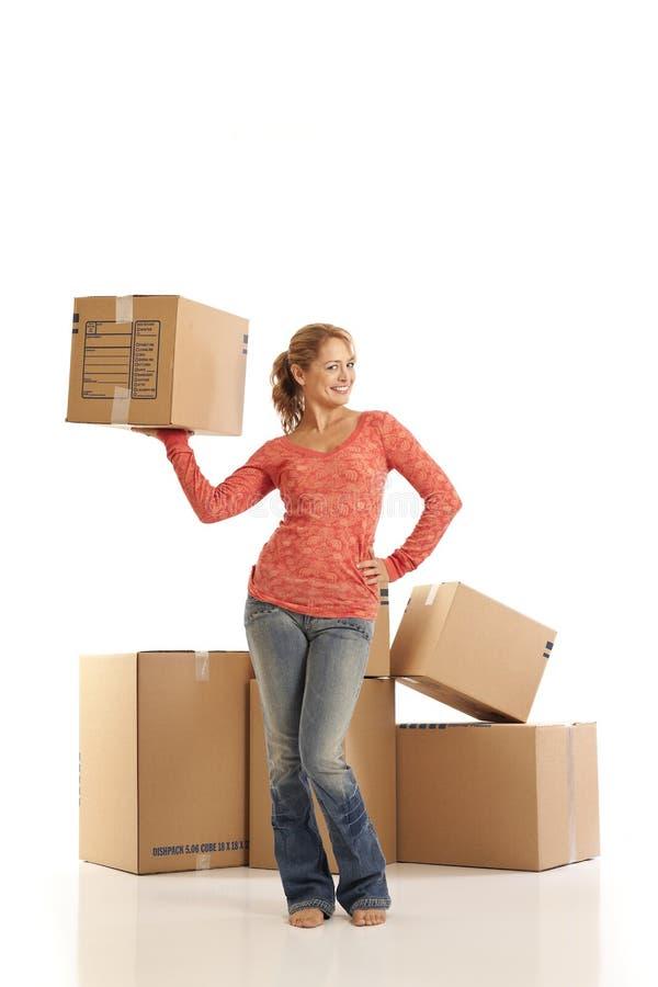 配件箱纸板藏品妇女年轻人 免版税库存图片