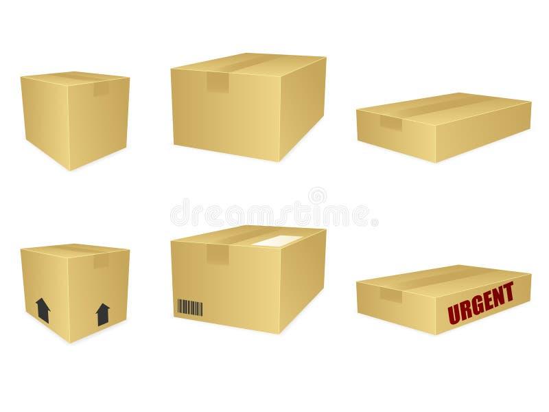 配件箱纸板eps图标 库存例证