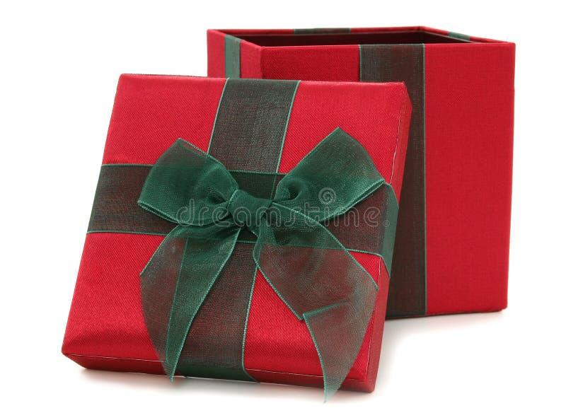 配件箱织品礼品绿色红色 免版税库存照片