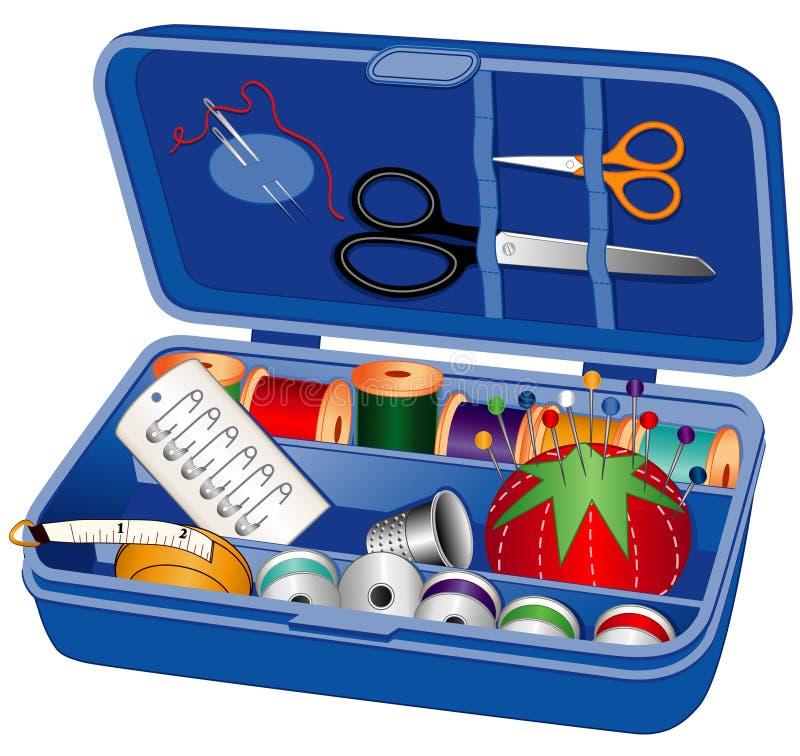 配件箱缝合的用品 向量例证