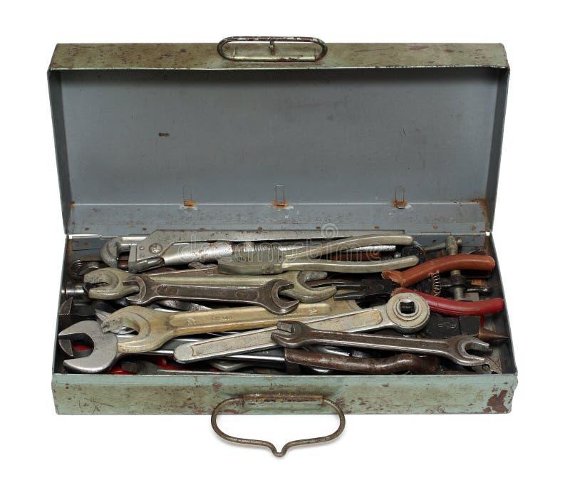 配件箱老生锈的工具 库存照片