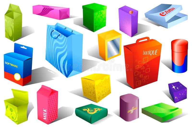 配件箱被设置的色的程序包 皇族释放例证