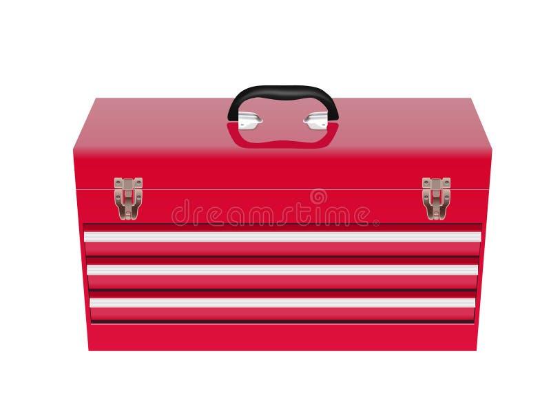 配件箱金属红色工具 向量例证